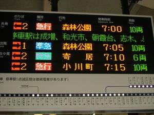 池袋発で6両編成,寄居直通の列車はこの月に廃止された寄居行特急が最後となった。